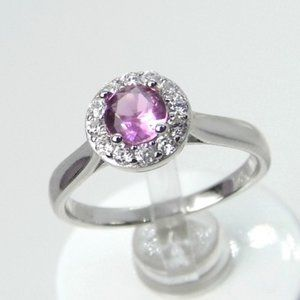 Sterling Silver Pink HALO Ring NEW